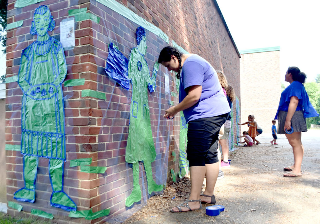"""""""Pageant Picnic Day"""" from """"Drawing From Our Past: A Tri-Town Tape Art Festival"""" at Pentucket Regional Middle School in West Newbury, July 27, 2019. (Greg Cook photo)"""