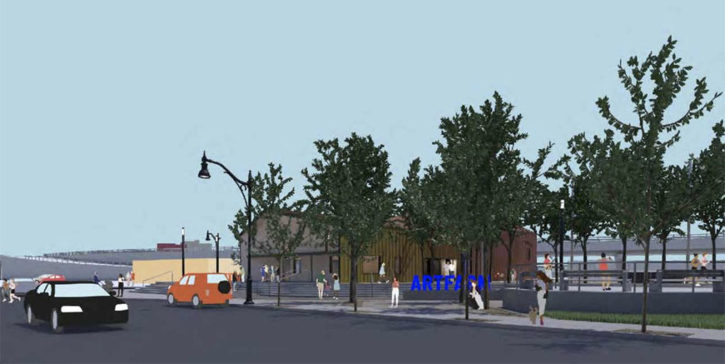 Design of ArtFarm, as seen from Linwood Street. (Courtesy Somerville Arts Council and OverUnder)