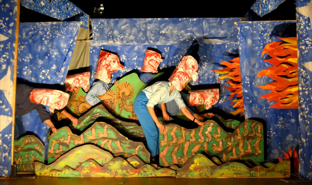 "Bread and Puppet Theater performed ""Diagonal Life: Theory and Praxis"" at First Church in Cambridge, Nov. 7, 2019. (Greg Cook photo)"