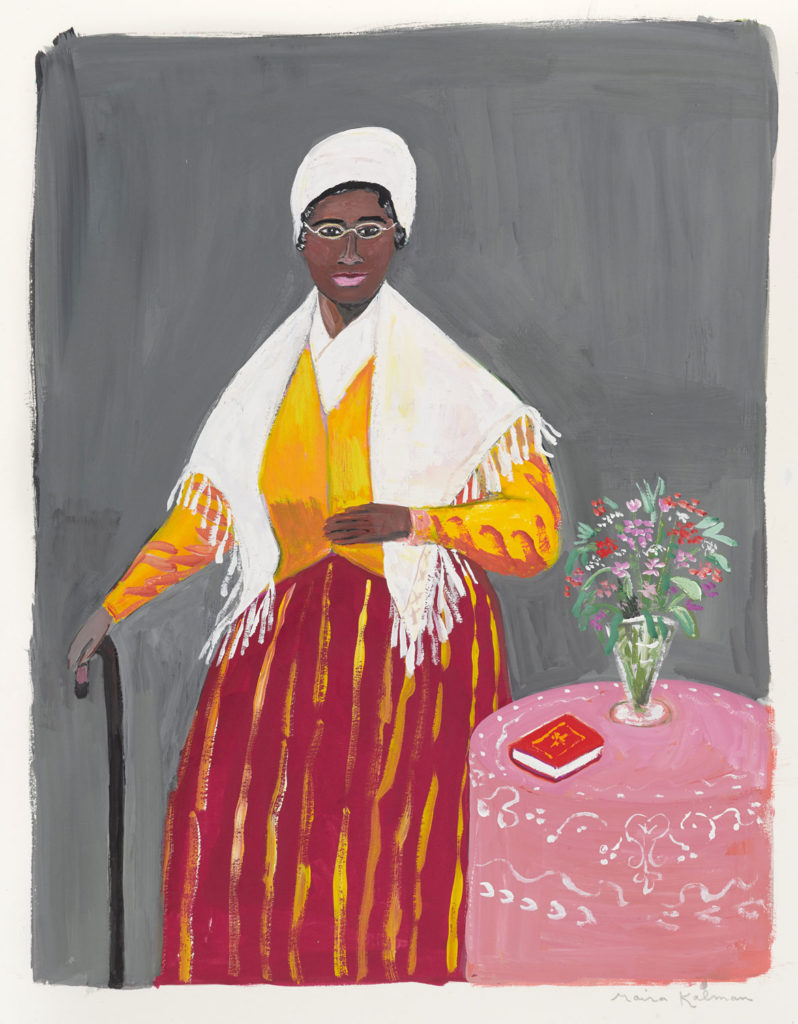 "Maira Kalman, Illustration for ""Bold and Brave: Ten Heroes Who Won Women the Right to Vote"" by Kirsten Gillibrand (Alfred A. Knopf). Brooklyn Museum, Gift of the artist and Julie Saul Gallery, New York. © 2018 Maira Kalman."