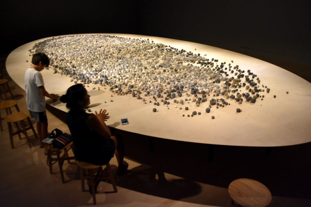 """""""Archive of Mind"""" by South Korean artist Kimsooja at Salem's Peabody Essex Museum, July 20, 2019. (Greg Cook photo)"""