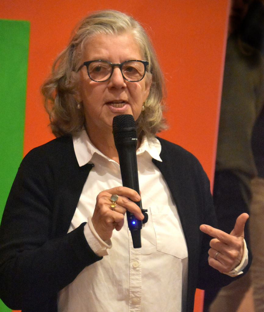 "Maira Kalman speaks at ""The Pursuit of Everything: Maira Kalman's Books for Children"" at the Eric Carle Museum of Picture Book Art in Amherst, Nov. 10, 2019. (Greg Cook photo)"
