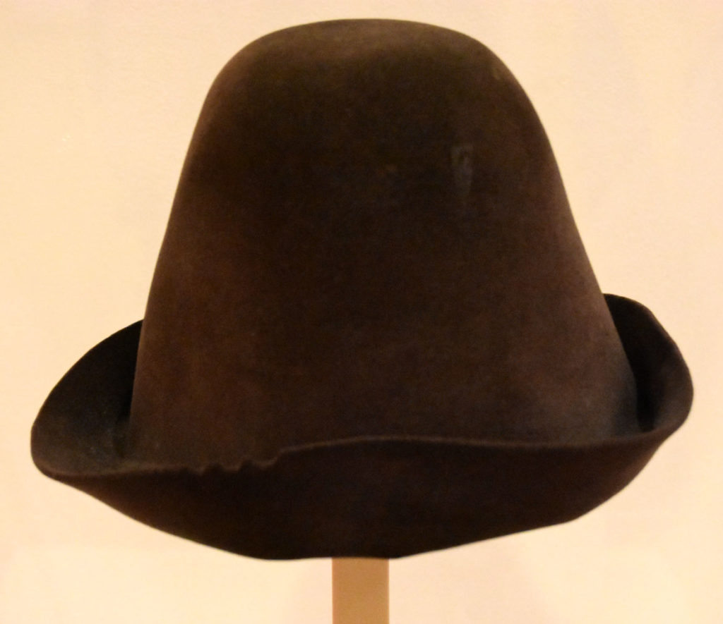 "Max the dog's hat, a wool felt hat that she found in a thrift store in Ashtabula, Ohio, exhibited in ""The Pursuit of Everything: Maira Kalman's Books for Children"" at the Eric Carle Museum of Picture Book Art in Amherst, Nov. 10, 2019. (Greg Cook photo)"