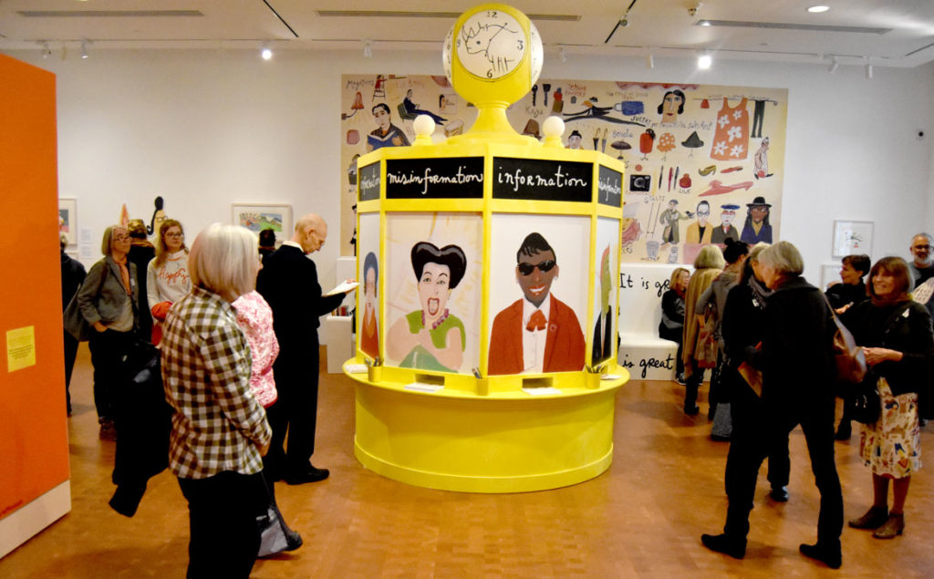 """The Pursuit of Everything: Maira Kalman's Books for Children"" at the Eric Carle Museum of Picture Book Art in Amherst, Nov. 10, 2019. (Greg Cook photo)"
