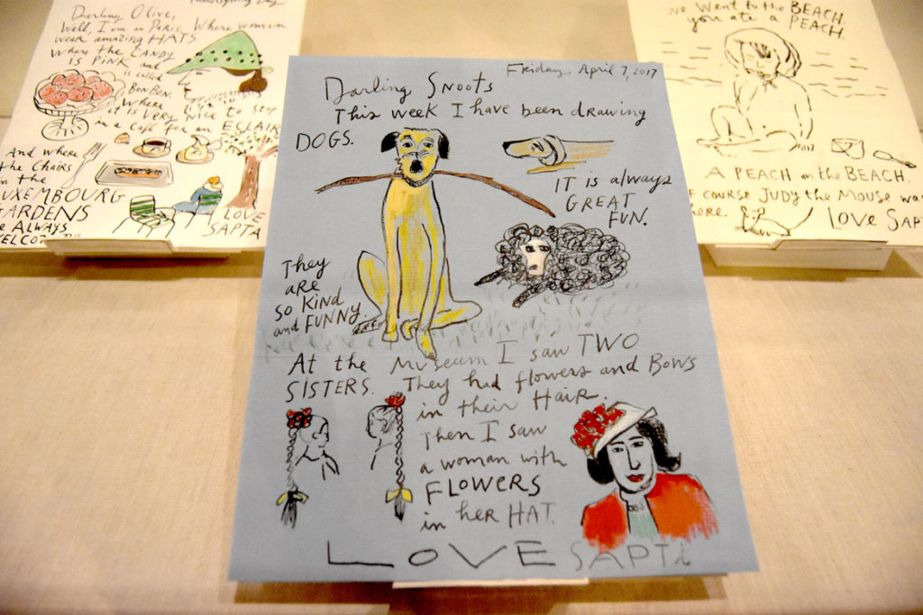 "Maira Kalman, Illustrated letters that she sends every other week to her granddaughter Olive, now age 3, in ""The Pursuit of Everything: Maira Kalman's Books for Children"" at Eric Carle Museum, Amherst, Nov. 10, 2019. (Greg Cook photo)"