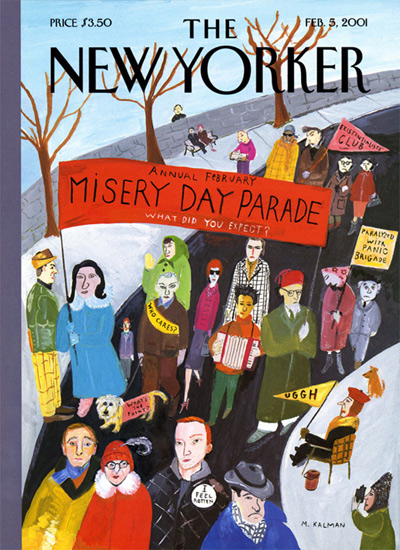"Maira Kalman, ""Misery Day Parade"" cover for the Feb. 5, 2001 New Yorker magazine, in ""The Pursuit of Everything: Maira Kalman's Books for Children"" at the Eric Carle Museum of Picture Book Art in Amherst, Nov. 10, 2019. (Greg Cook photo)"