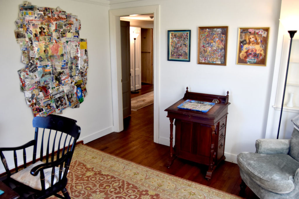 Retrospective exhibition of Willie Alexander's paintings and collages at the Manship Artist Residency + Studios in Gloucester, Oct. 18, 2019. (Greg Cook photo)