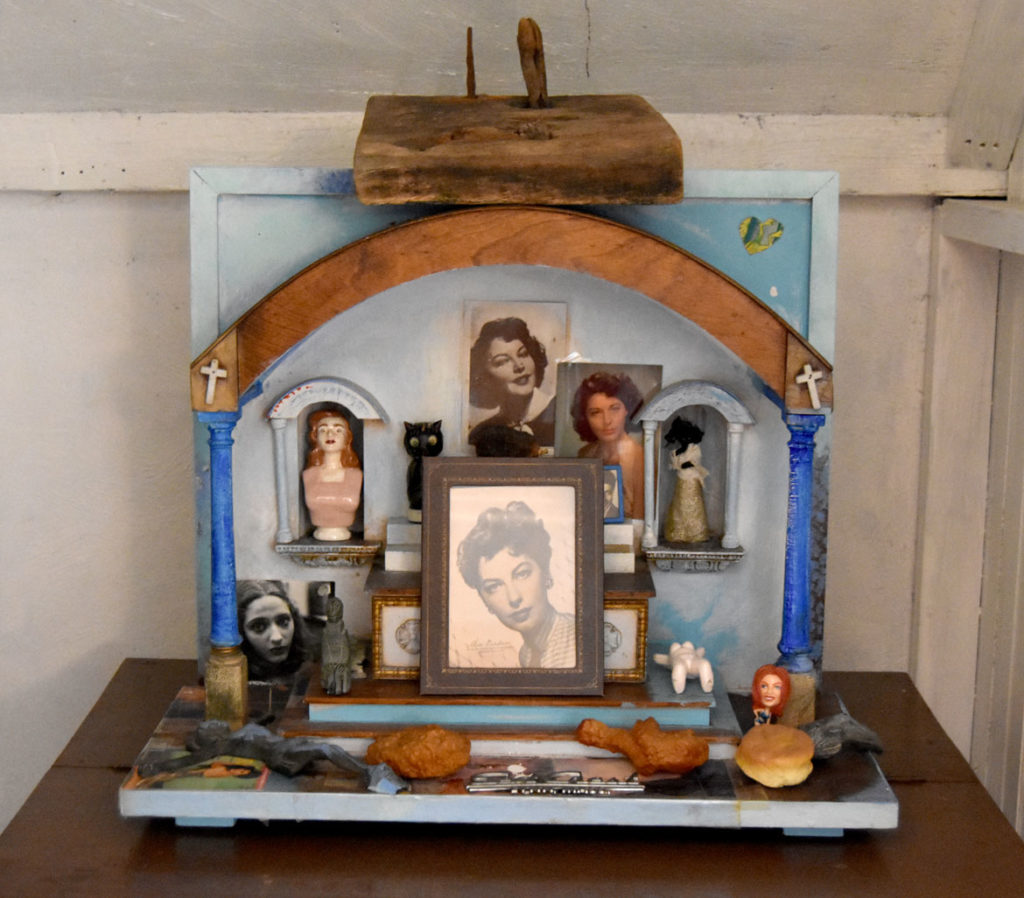 Altar to Ava Gardner in the retrospective exhibition of Willie Alexander's paintings and collages at the Manship Artist Residency + Studios in Gloucester, Oct. 18, 2019. (Greg Cook photo)