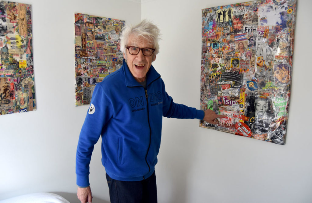 Willie Alexander at a retrospective of his paintings and collages at the Manship Artist Residency + Studios in Gloucester, Oct. 18, 2019. (Greg Cook photo)