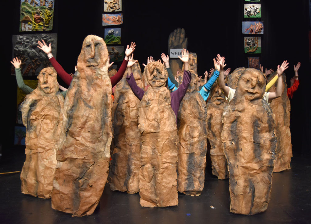"""Bread and Puppet Theater performs the """"Honey Let's Go Home! Opera"""" at Theater for the New City, New York, Dec. 6, 2019. (Greg Cook photo)"""