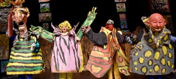 "Bread and Puppet Theater performs the ""Honey Let's Go Home! Opera"" at Theater for the New City, New York, Dec. 6, 2019. (Greg Cook photo)"