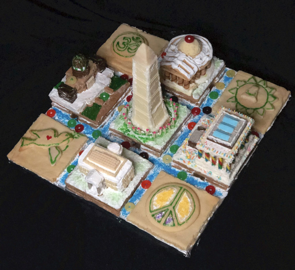 "Form + Place's ""Form + Peace"" in Gingerbread Design Competition and Exhibition, Boston Society of Architects Space, Dec. 17, 2019. (Courtesy)"