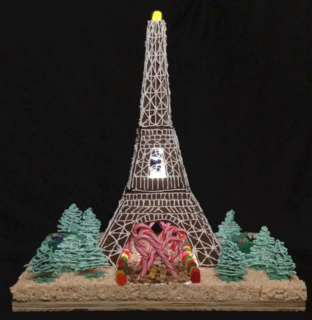 "HLB Lighting Design's ""La Tour Gingembre"" in Gingerbread Design Competition and Exhibition, Boston Society of Architects Space, Dec. 17, 2019. (Courtesy)"