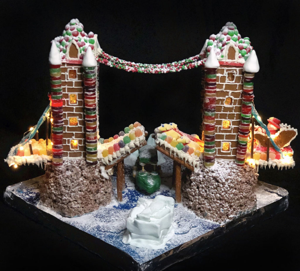 "Prellwitz Chilinski Associates' ""God Save the Gumdrops"" in Gingerbread Design Competition and Exhibition, Boston Society of Architects Space, Dec. 17, 2019. (Courtesy)"