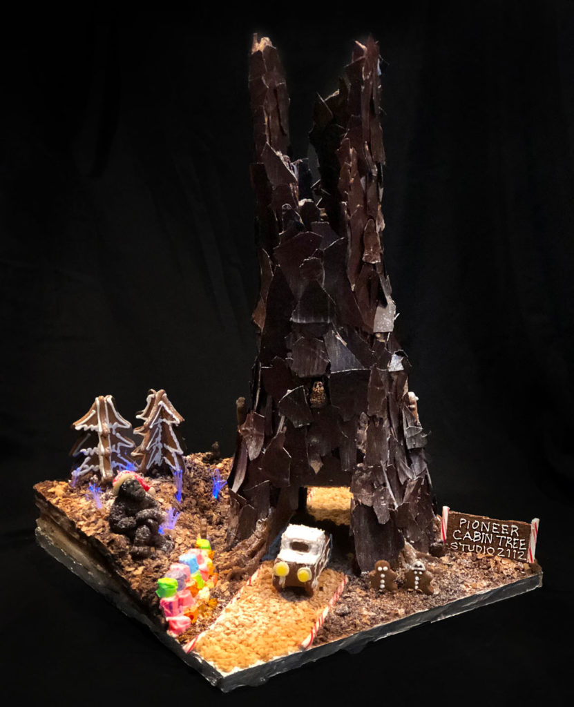 "Studio 2112 Landscape Architecture's ""The Pioneer Cabin Tree"" in Gingerbread Design Competition and Exhibition, Boston Society of Architects Space, Dec. 17, 2019. (Courtesy)"