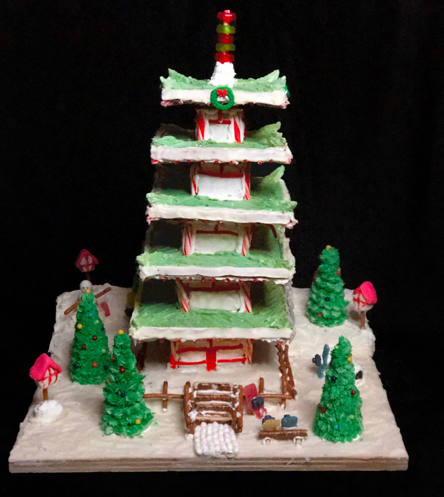 "The Architectural Team's ""Fujiyo-sugar Cenotaph Monument"" in Gingerbread Design Competition and Exhibition, Boston Society of Architects Space, Dec. 17, 2019. (Courtesy)"