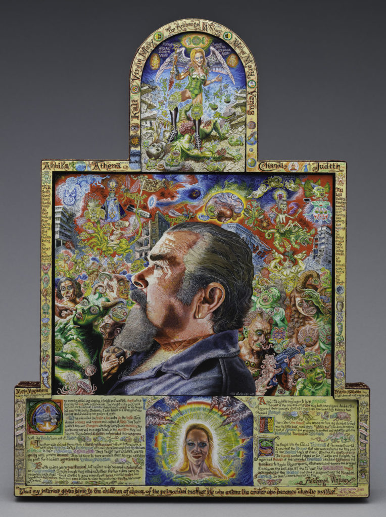 "Joe Coleman's ""The Book of Revelations, Take Two,"" 2019, acrylic on wood panel with painted frame and fabric. (Courtesy Andrew Edlin Gallery, New York)"
