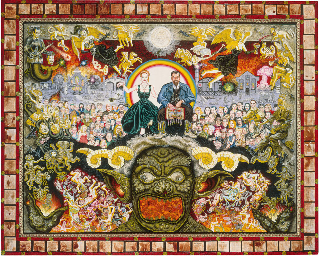 "Joe Coleman's ""The Book of Revelations,"" 1999, acrylic on panel, collaged with bloodstained miniature Bible pages. (Courtesy Andrew Edlin Gallery, New York)"