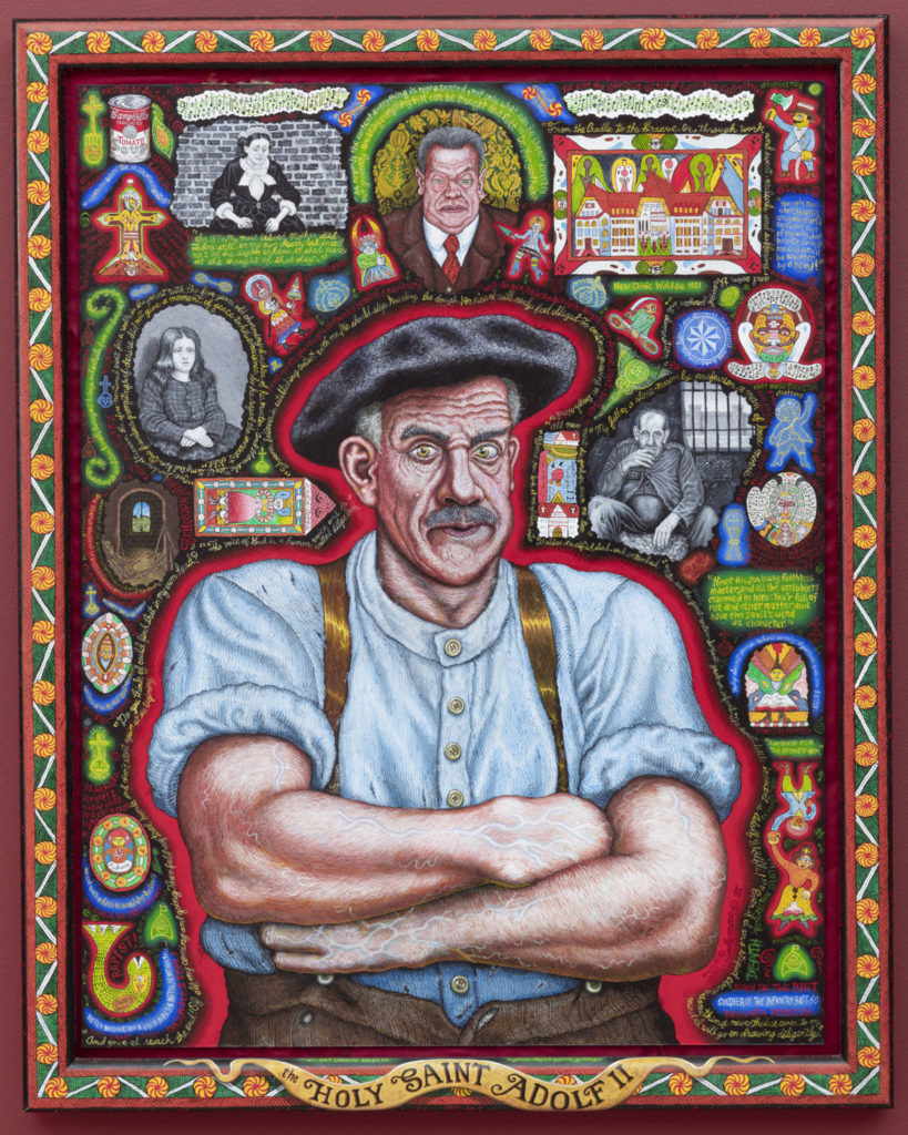 "Joe Coleman's ""The Holy Saint Adolf II [Adolf Wölfli],"" 1995, acrylic on panel. (Courtesy Andrew Edlin Gallery, New York)"
