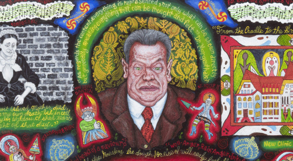 "Detail of Joe Coleman's ""The Holy Saint Adolf II [Adolf Wölfli],"" 1995, acrylic on panel. (Courtesy Andrew Edlin Gallery, New York)"