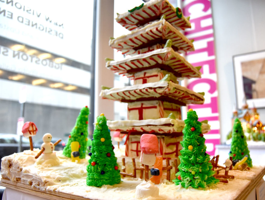 "The Architectural Team's ""Fujiyo-sugar Cenotaph Monument"" in Gingerbread Design Competition and Exhibition, Boston Society of Architects Space, Dec. 17, 2019. (Greg Cook photo)"
