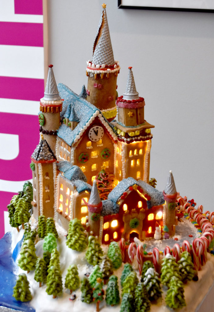 "Finegold Alexander's ""Gingerella's Confectionary Castle"" in Gingerbread Design Competition and Exhibition, Boston Society of Architects Space, Dec. 17, 2019. (Greg Cook photo)"