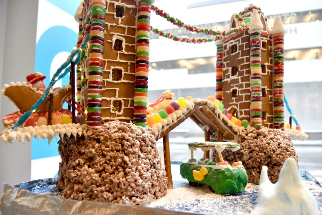 "Prellwitz Chilinski Associates' ""God Save the Gumdrops"" in Gingerbread Design Competition and Exhibition, Boston Society of Architects Space, Dec. 17, 2019. (Greg Cook photo)"