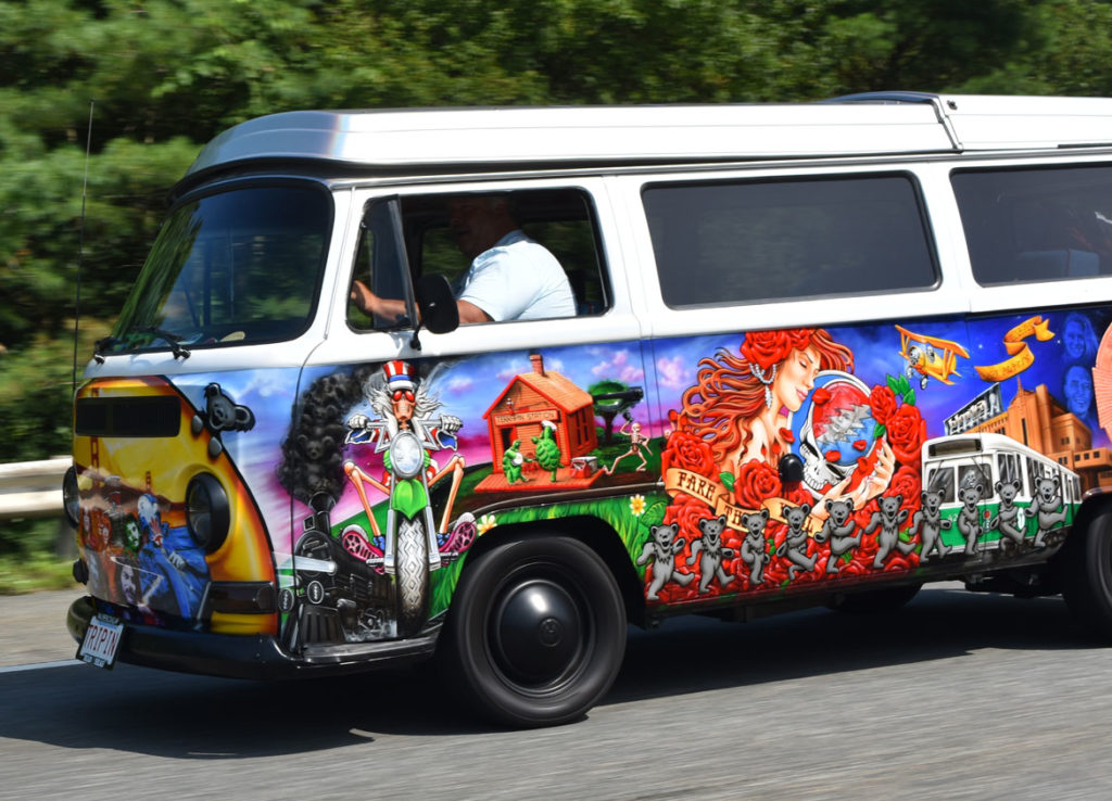 Grateful Dead mini van driving north on Route 95 near Georgetown, Massachusetts, July 27, 2019. (Greg Cook photo)