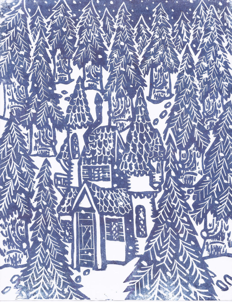 "Greg Cook, ""Winter Wood,"" linocut printed, copyright Dec. 1, 2019."