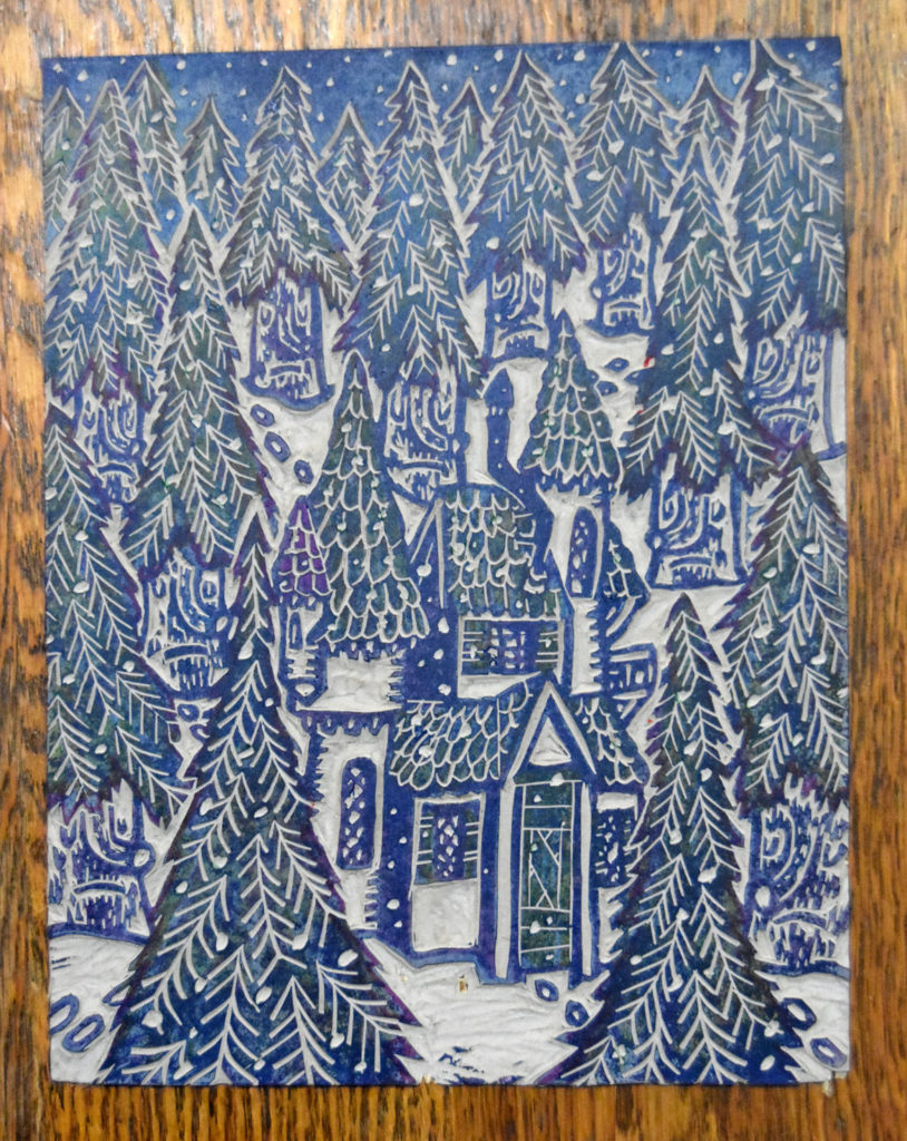 "Greg Cook, ""Winter Wood,"" linocut plate inked, copyright Dec. 1, 2019."