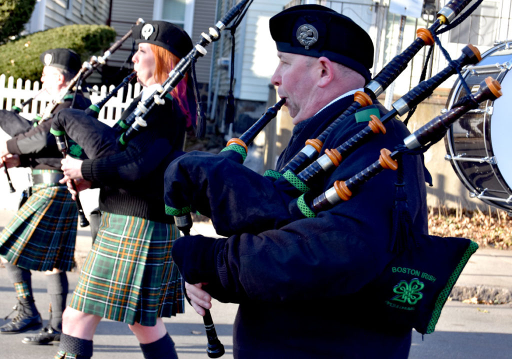Boston Irish Pipes and Drums in the Malden Parade of Holiday Traditions, Nov. 30, 2019. (Greg Cook photo)