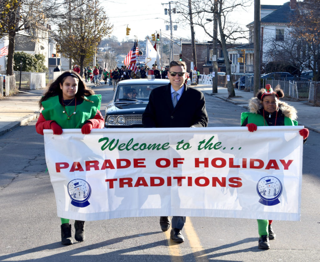 Mayor Gary Christenson in the Malden Parade of Holiday Traditions, Nov. 30, 2019. (Greg Cook photo)