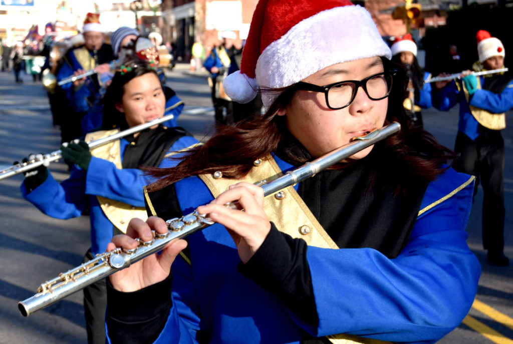 Malden High School band in the Malden Parade of Holiday Traditions, Nov. 30, 2019. (Greg Cook photo)
