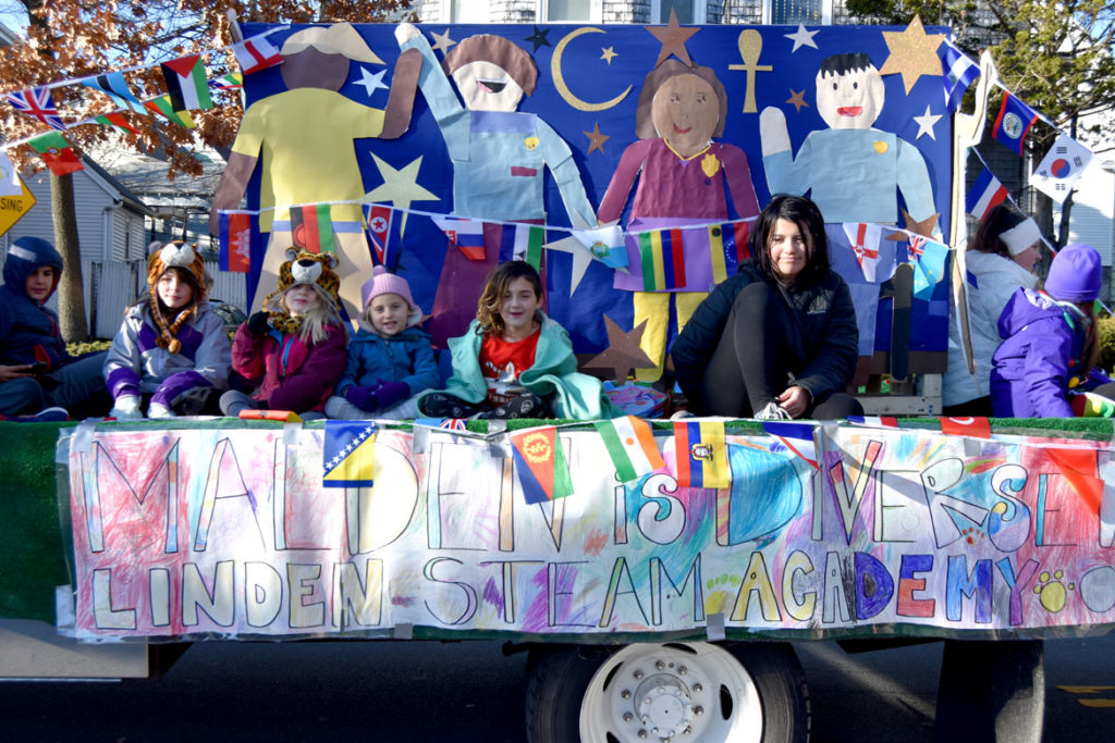 Linden STEAM Academy in the Malden Parade of Holiday Traditions, Nov. 30, 2019. (Greg Cook photo)