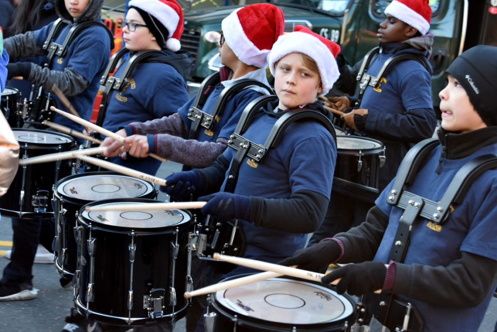Malden Middle School band in the Malden Parade of Holiday Traditions, Nov. 30, 2019. (Greg Cook photo)