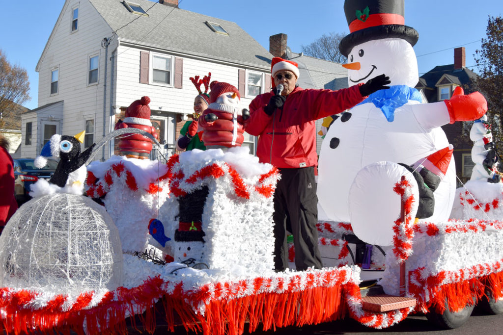 City Councilor Neal Anderson in the Malden Parade of Holiday Traditions, Nov. 30, 2019. (Greg Cook photo)
