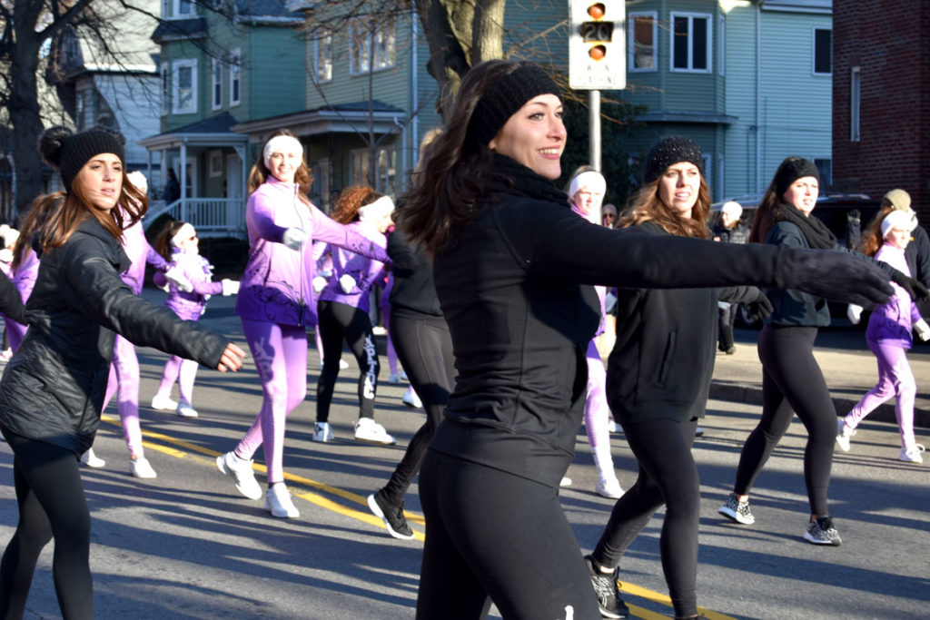 Paula Terenzi's Dance Company in the Malden Parade of Holiday Traditions, Nov. 30, 2019. (Greg Cook photo)