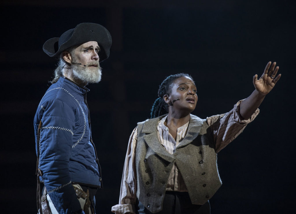 """Tom Nelis (left) as Ahab and Starr Busby as Starbuck in American Repertory Theater's """"Moby-Dick."""" (Maria Baranova photo)"""