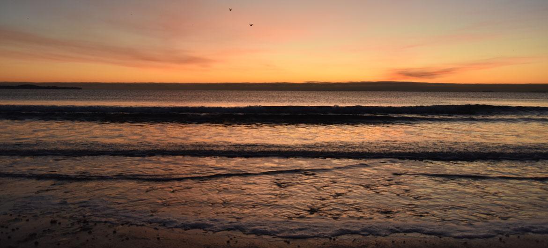 Winter solstice sunrise at Revere Beach, Dec. 21, 2019. (Greg Cook photo)