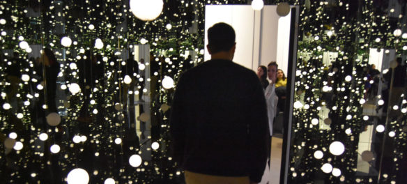 "Yayoi Kusama's ""Infinity Mirrored Room – Dancing Lights That Flew Up to the Universe,"" David Zwirner gallery, New York, Dec. 5, 2019. (Greg Cook photo)"