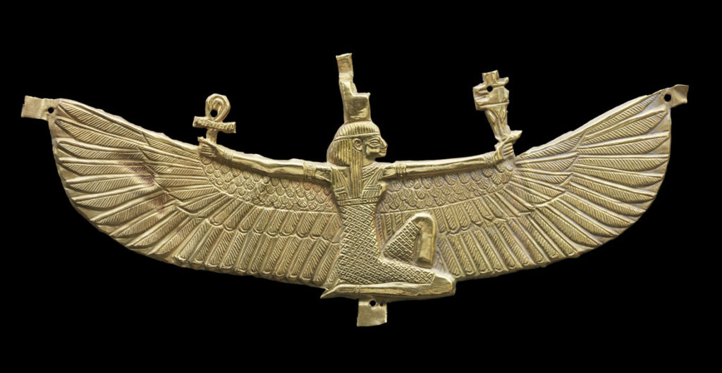 """Winged Isis pectoral, 538-519 BCE, Napatan period, reign of Amaninatakelebte, gold. From """"Ancient Nubia Now"""" at Boston's Museum of Fine Arts."""