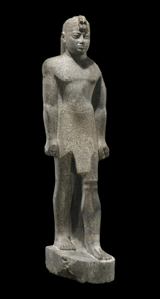 """Statue of King Senkamanisken, 643-623 BCE, Napatan Period, reign of Senkamanisken, granite gneiss. From """"Ancient Nubia Now"""" at Boston's Museum of Fine Arts."""