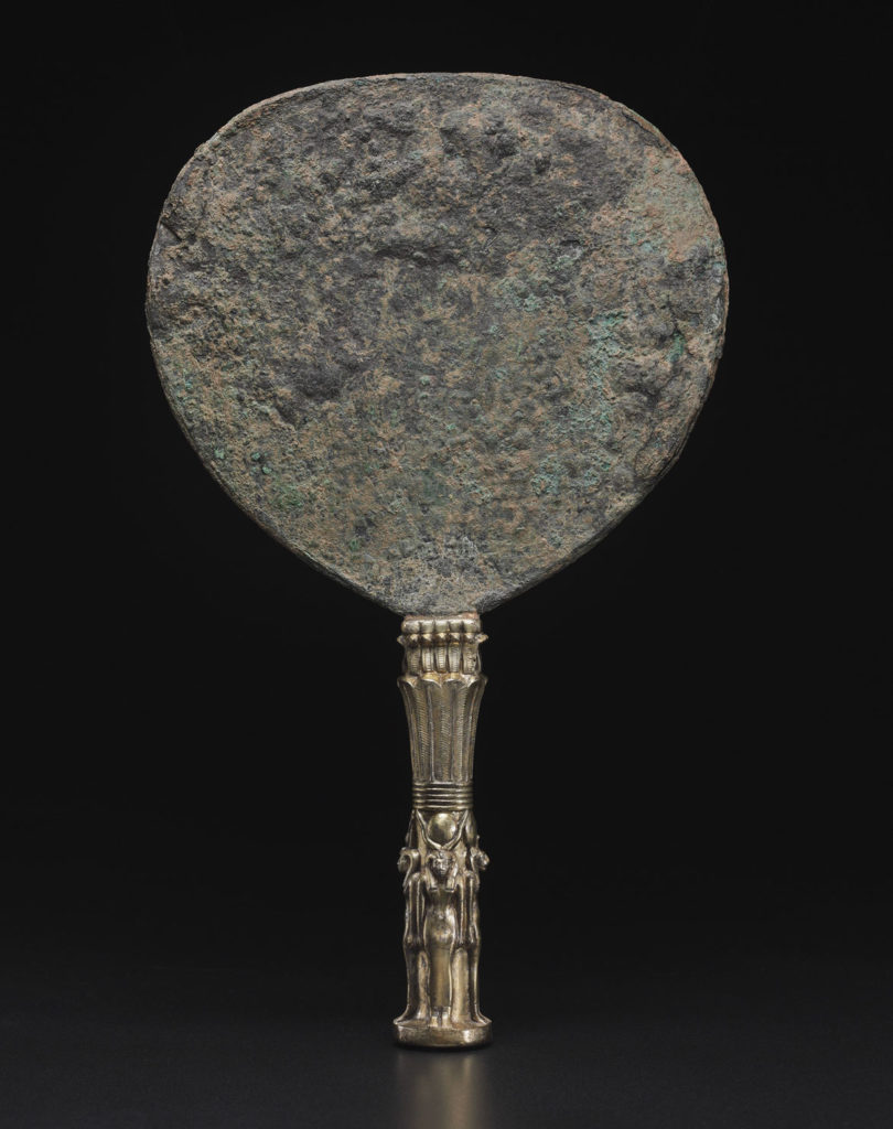 """Mirror of King Shabaka, 698-690 BCE, Napatan Period, reign of Shabaka, bronze and gilded silver. From """"Ancient Nubia Now"""" at Boston's Museum of Fine Arts."""