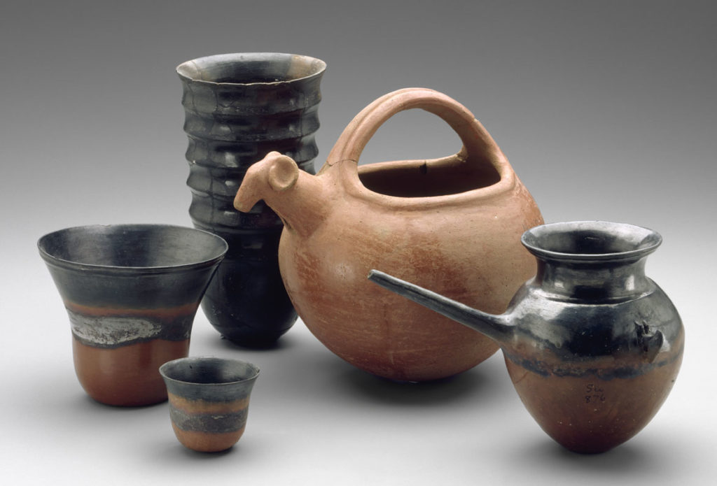 """Pottery vessels, 1700-1550 BCE, Classic Kerma Period. From """"Ancient Nubia Now"""" at Boston's Museum of Fine Arts."""
