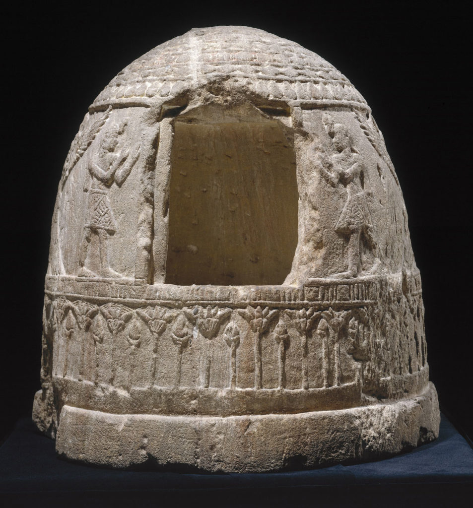 """Shrine, 100-200 CE, Meroitic Period, stuccoed and painted sandstone. From """"Ancient Nubia Now"""" at Boston's Museum of Fine Arts."""