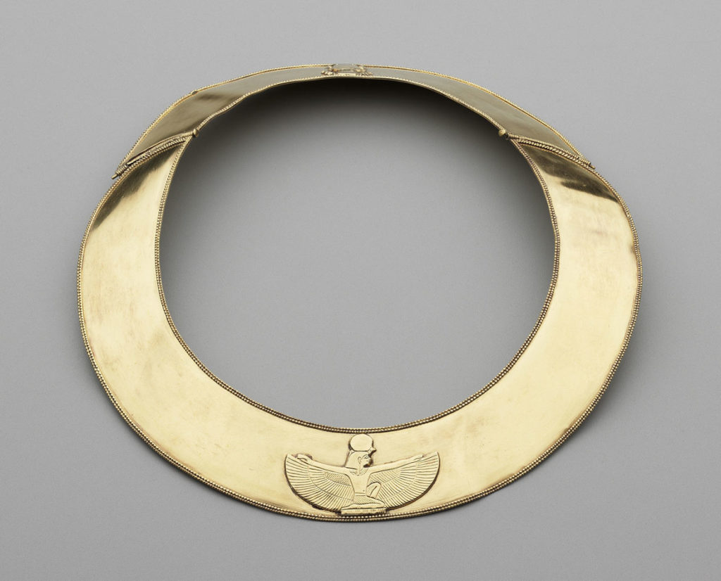 """Collar, 712-698 BCE, Napatan Period, reign of Shebitka, electrum. From """"Ancient Nubia Now"""" at Boston's Museum of Fine Arts."""