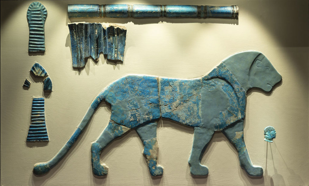 """Wall inlay of lion, classic Kerma period, 1700-1550 BCE, found at Kerma, blue faience. From """"Ancient Nubia Now"""" at Boston's Museum of Fine Arts."""