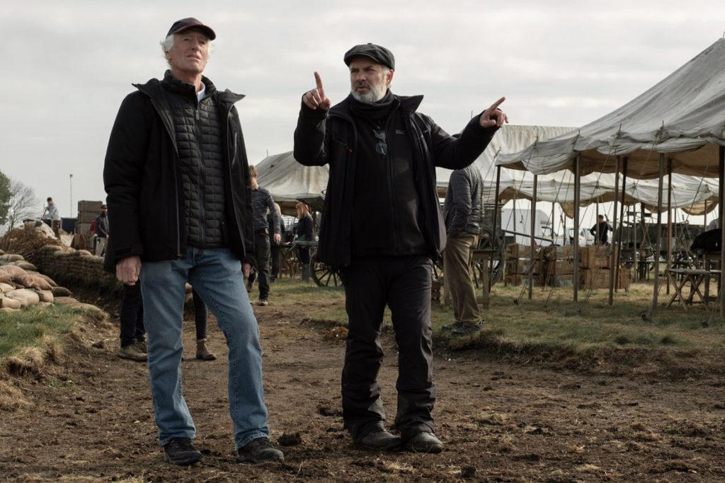 "Director of photography Roger Deakins (left) and director Sam Mendes on the set of ""1917."" (François Duhamel / Universal Pictures and DreamWorks Pictures)"