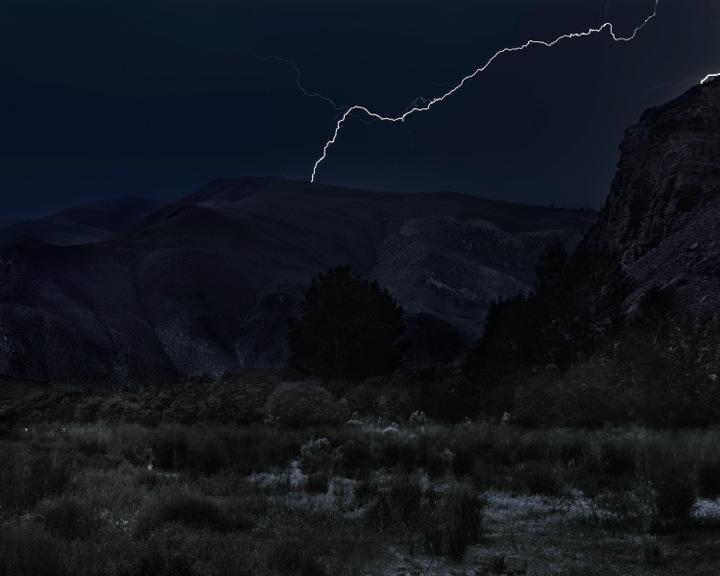 "Laura McPhee, ""Lightning Over Joe Jump Basin, Custer County, Idaho,"" 2017. (Courtesy Carroll and Sons)"