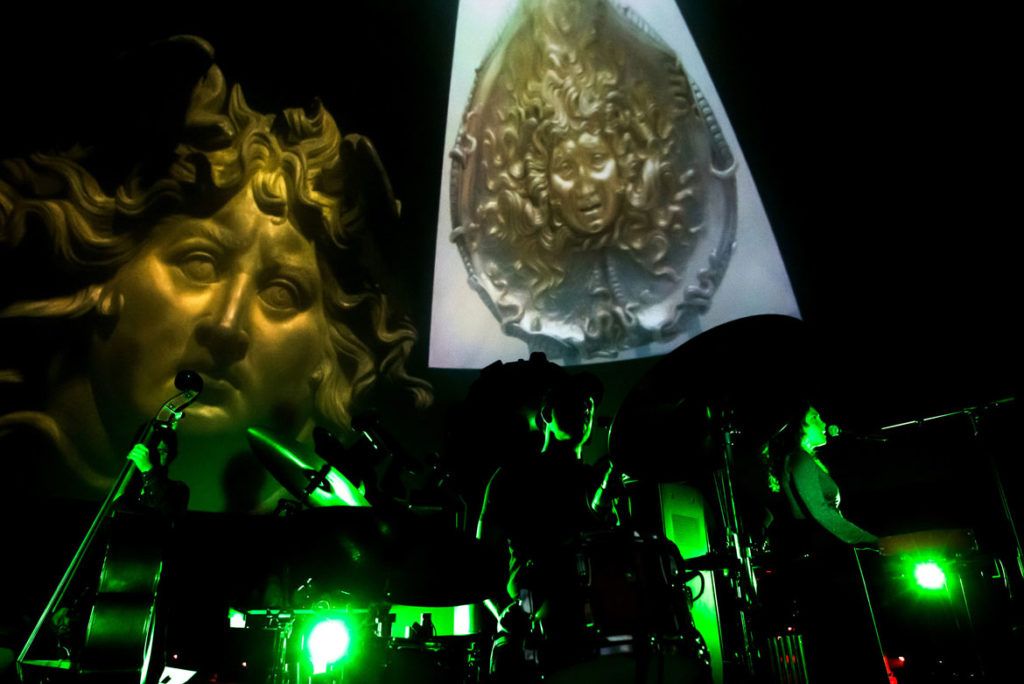 """What Time Is It, Mr. Fox? performs """"Medusa: Reclaiming the Myth""""at the Boston Museum of Science's Charles Hayden Planetarium, August 2019. (Jonathan Beckley photo)"""